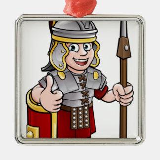 Ornement Carré Argenté Soldat romain de personnage de dessin animé