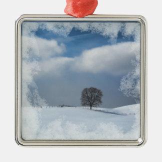 Ornement Carré Argenté Solitude d'hiver d'ornement de Noël