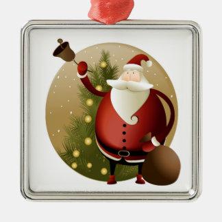 Ornement Carré Argenté Sonnerie de Père Noël Bell de Noël