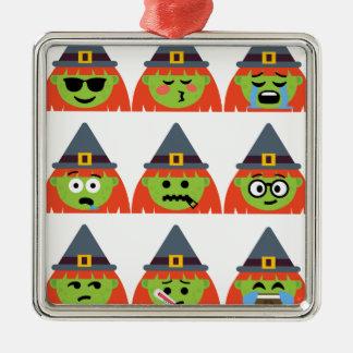 Ornement Carré Argenté sorcière tout l'Emoji Halloween