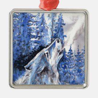 Ornement Carré Argenté Souffle bleu de froid de loups d'hiver de loup de