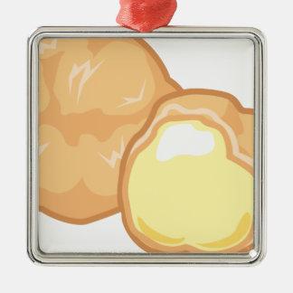 Ornement Carré Argenté Souffle crème