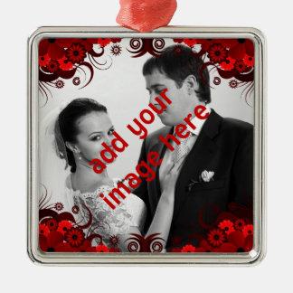 Ornement Carré Argenté Souvenir floral rouge et blanc élégant de mariage