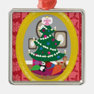 Ornement Carré Argenté Souvenirs de Noël