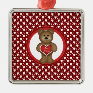 Ornement Carré Argenté Soyez le mien, ours debout de Valentine, coeurs,