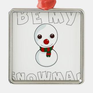 Ornement Carré Argenté soyez mon bonhomme de neige
