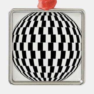 Ornement Carré Argenté Sphère d'illusion optique de damier
