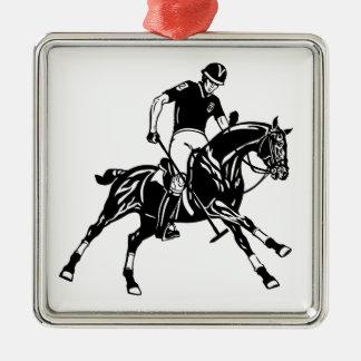 Ornement Carré Argenté sport équestre de polo