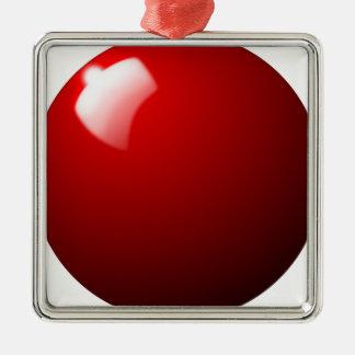 Ornement Carré Argenté Sport rouge de Tableau de boule de billard