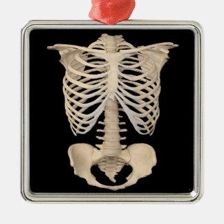 Ornement Carré Argenté Squelette effrayant de cage de zombi de partie de