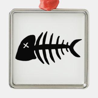 Ornement Carré Argenté squelette mort de poissons