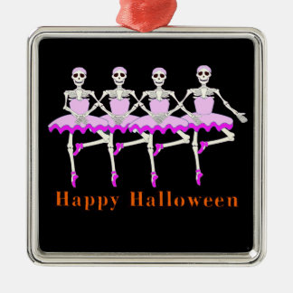 """Ornement Carré Argenté Squelettes dansant le ballet """"Halloween heureux """""""