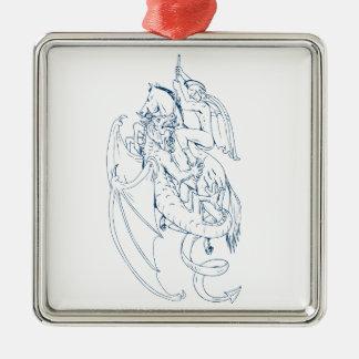 Ornement Carré Argenté St George massacrent le dessin de dragon
