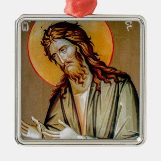 Ornement Carré Argenté St John l'icône orthodoxe de Noël de baptiste