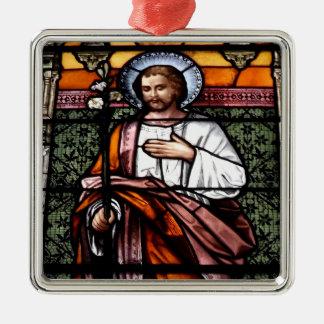Ornement Carré Argenté St Joseph prient pour nous - la fenêtre en verre