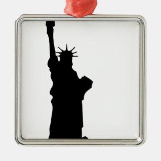Ornement Carré Argenté statue-liberté