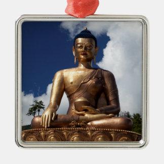 Ornement Carré Argenté Statue se reposante de Bouddha