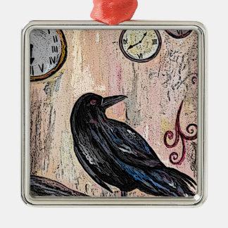 Ornement Carré Argenté Steampunk Raven avec des horloges