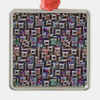 Ornement Carré Argenté Structure 3D abstraite colorée