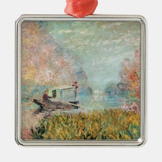 Ornement Carré Argenté Studio de bateau de Claude Monet | sur la Seine