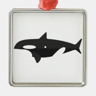Ornement Carré Argenté Style de primitif de baleine d'orque