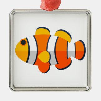 Ornement Carré Argenté Style de primitif de poissons de clown
