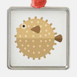 Ornement Carré Argenté Style de primitif de poissons de Purcupine