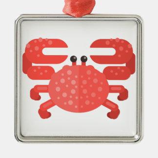 Ornement Carré Argenté Style rose de primitif de crabe