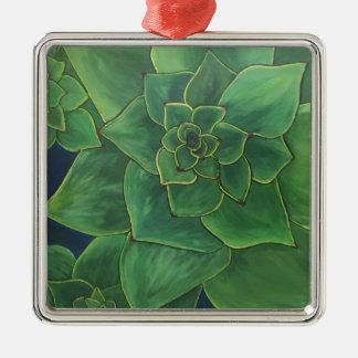 Ornement Carré Argenté Succulents verts