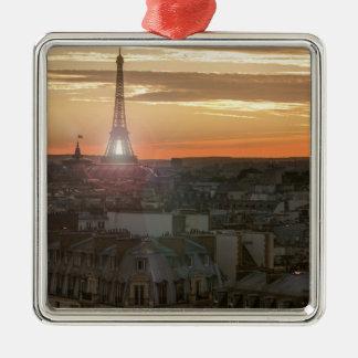 Ornement Carré Argenté Sunset on the Eiffel tower, Paris, France