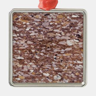 Ornement Carré Argenté Surface d'un grès rouge avec les geods siliceux