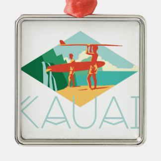 Ornement Carré Argenté Surfers de Kauai