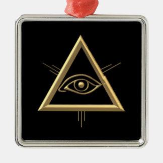 """Ornement Carré Argenté Symbole de l'oeil de Dieu """"à trois dimensions"""""""