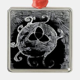 Ornement Carré Argenté symbole wiccan pour les sorcières