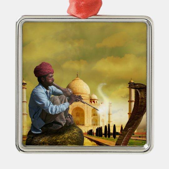 Ornement Carré Argenté Taj Mahal