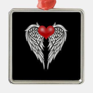Ornement Carré Argenté Tatouage de coeur d'ange