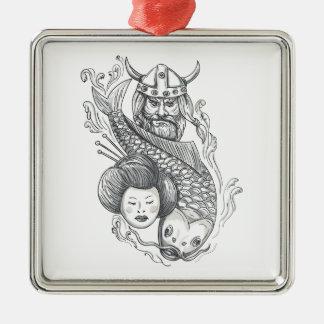 Ornement Carré Argenté Tatouage de tête de geisha de carpe de Viking
