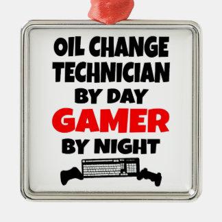 Ornement Carré Argenté Technicien de changement d'huile de Gamer