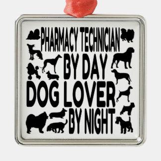 Ornement Carré Argenté Technicien de pharmacie d'amoureux des chiens