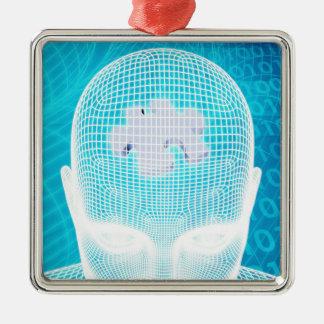 Ornement Carré Argenté Technologie futuriste avec la puce d'esprit humain