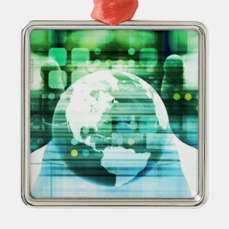 Ornement Carré Argenté Technologie futuriste de la Science comme art de
