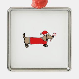 Ornement Carré Argenté Teckel de Noël