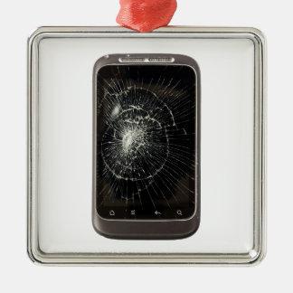Ornement Carré Argenté Téléphone portable cassé