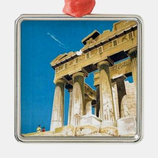 Ornement Carré Argenté Temple vintage de parthenon d'Athènes Grèce de