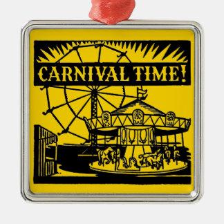 Ornement Carré Argenté Temps de carnaval