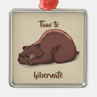 Ornement Carré Argenté Temps d'ours de sommeil de hiberner