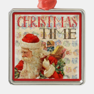 Ornement Carré Argenté Temps vintage le père noël de Noël