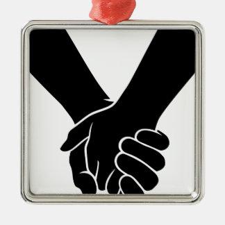 Ornement Carré Argenté Tenir des mains