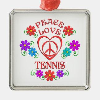 Ornement Carré Argenté Tennis d'amour de paix