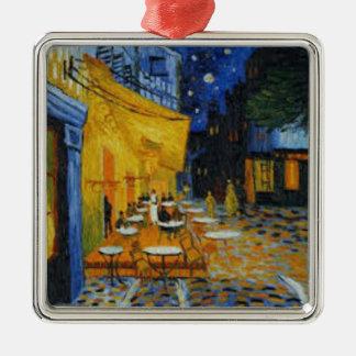 Ornement Carré Argenté Terrasse de Café le nuit de Vincent Van Gogh